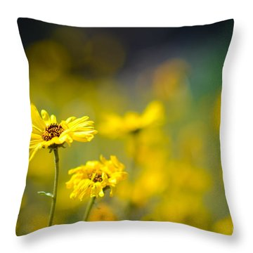 Yellow Wild Flowers Throw Pillow