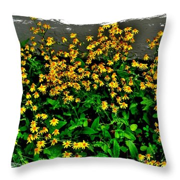 Yellow Wildflowers Throw Pillow by Marsha Heiken