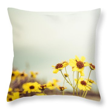 Throw Pillow featuring the photograph Yellow Wildflowers by Mary Hone