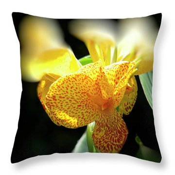Yellow With Red Spots Throw Pillow by Douglas Barnard