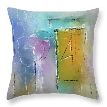 Throw Pillow featuring the mixed media Yellows And Blues by Eduardo Tavares