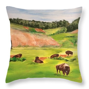 Yellowstone Throw Pillow by Ellen Canfield