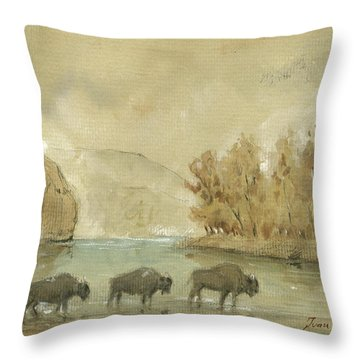 Yellowstone And Bisons Throw Pillow by Juan Bosco