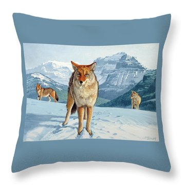 Yellowstone Coyotes Throw Pillow by Paul Krapf