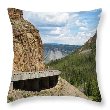 Throw Pillow featuring the photograph Yellowstone Drive by John M Bailey