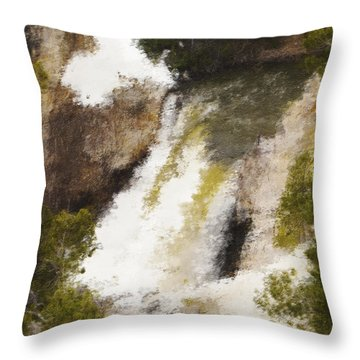 Yellowstone Falls Throw Pillow by Jo-Anne Gazo-McKim