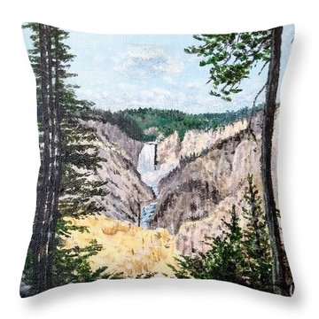 Throw Pillow featuring the painting Yellowstone Falls by Kevin Daly