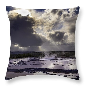 Yellowstone Geysers And Hot Springs Throw Pillow