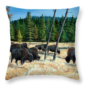 Yellowstone Grazers Throw Pillow