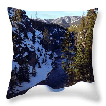 Yellowstone In Winter Throw Pillow