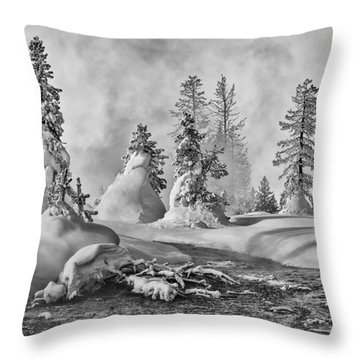 Yellowstone In Winter Throw Pillow by Gary Lengyel