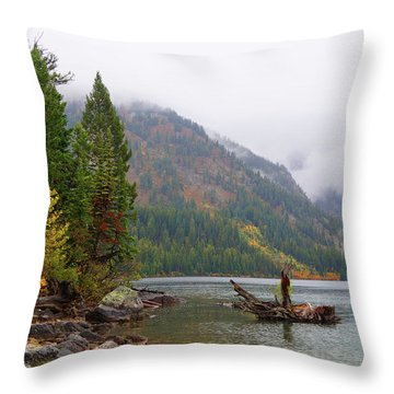Yellowstone Lake Fall Throw Pillow