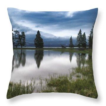 Yellowstone Lake Reflection Throw Pillow
