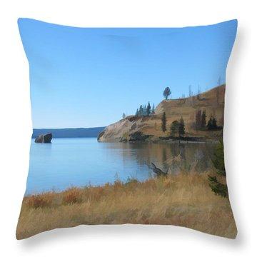Throw Pillow featuring the digital art Yellowstone Lake Se by Gary Baird