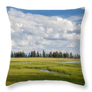 Yellowstone Meadow Throw Pillow