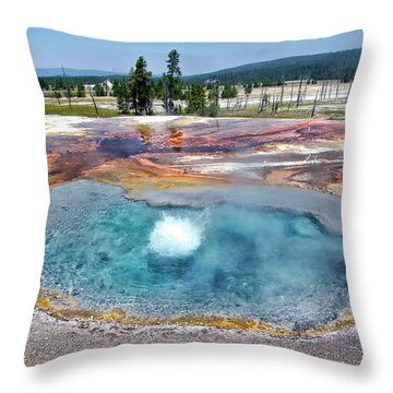 Yellowstone Park Firehole Spring In August 01 Throw Pillow