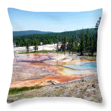 Yellowstone Park Firehole Spring In August 03 Throw Pillow