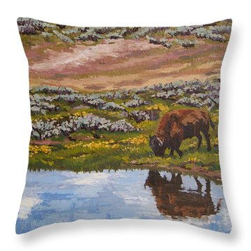 Throw Pillow featuring the painting Yellowstone Reflections by Erin Fickert-Rowland