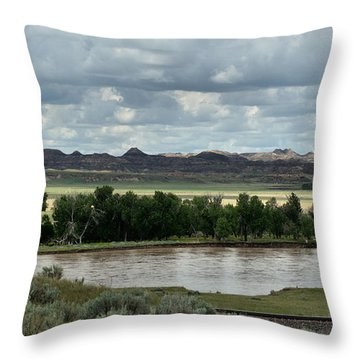 Yellowstone River After The Storm Throw Pillow by Aliceann Carlton