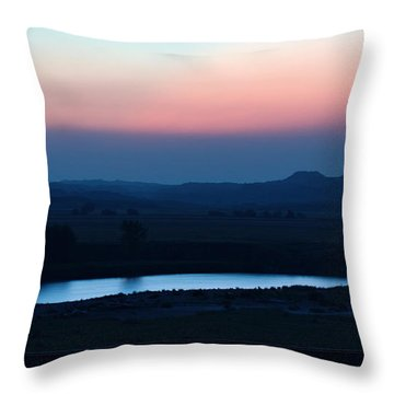 Yellowstone River Evening Throw Pillow by Aliceann Carlton