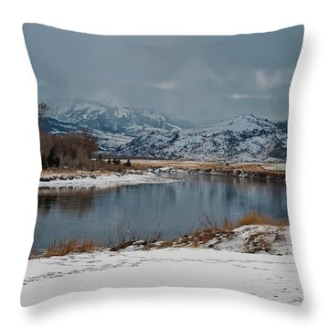 Yellowstone River In Light Snow Throw Pillow