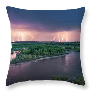 Yellowstone River Lightning Throw Pillow by Leland D Howard