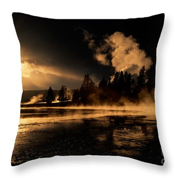 Yellowstone River Sunrise Throw Pillow