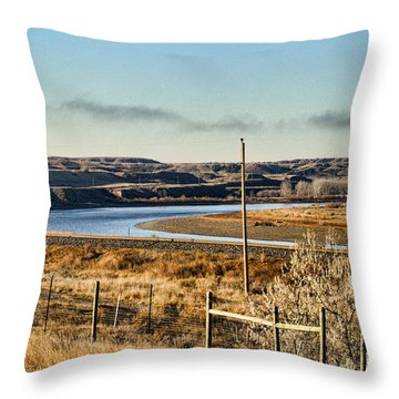 Yellowstone River View Throw Pillow by Aliceann Carlton
