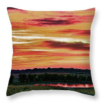 Yellowstone River Wildfire Sunset Throw Pillow