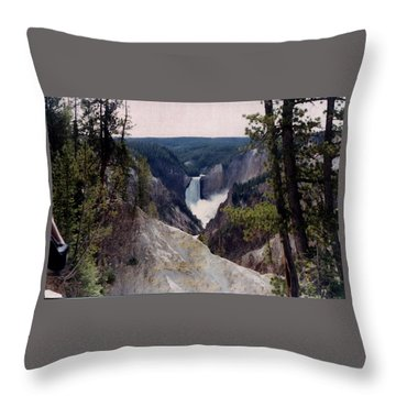 Yellowstone Water Fall Throw Pillow