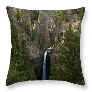 Throw Pillow featuring the photograph Yellowstone Waterfall by Roger Mullenhour