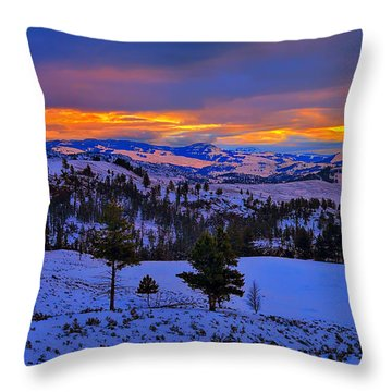 Yellowstone Winter Morning Throw Pillow