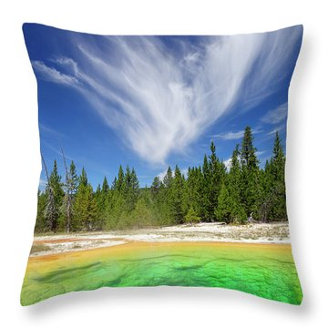 Throw Pillow featuring the photograph Yellowstone's Morning Glory Pool Pool And Awesome Clouds by Bruce Gourley