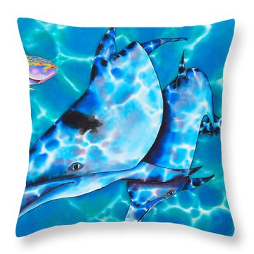 Yellowtail Snapper And  Dolphins Throw Pillow by Daniel Jean-Baptiste