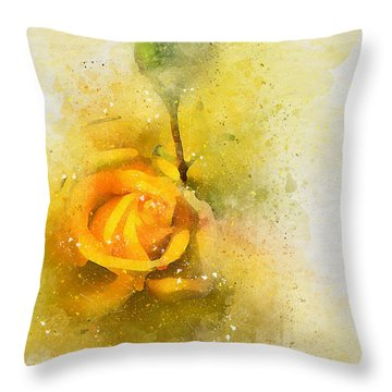 Yelow Rose Throw Pillow