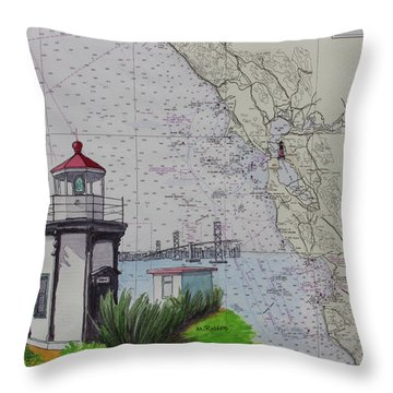 Yerba Buena Island Lighthouse Throw Pillow