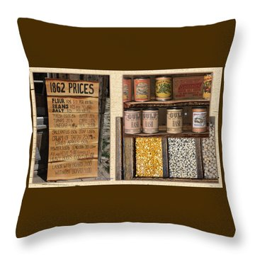 Yesteryear Groceries Throw Pillow