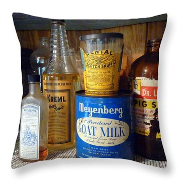Yesteryear's Goods Throw Pillow by Carla Parris