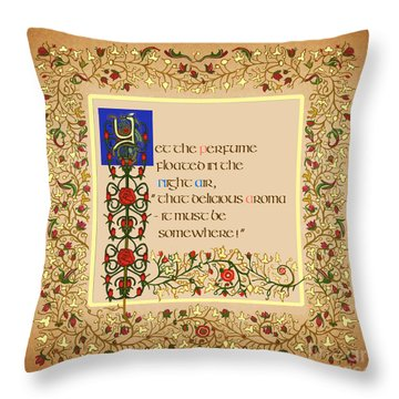 Throw Pillow featuring the digital art Yet The Perfume Still Floated by Donna Huntriss