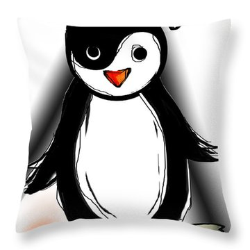 Yin Yang Penguin  Throw Pillow by Sladjana Lazarevic
