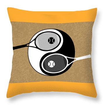 Yin Yang Tennis Throw Pillow by Carlos Vieira