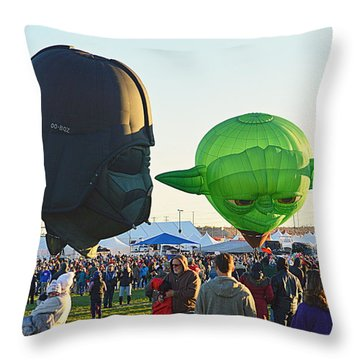 Throw Pillow featuring the photograph Yoda And Darth by AJ Schibig