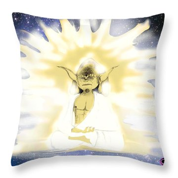 Yoda Budda Throw Pillow