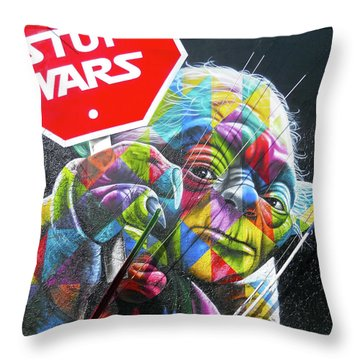 Yoda - Stop Wars Throw Pillow