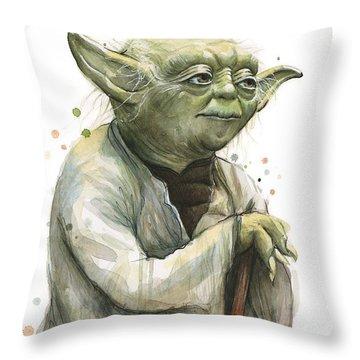 Yoda Watercolor Throw Pillow