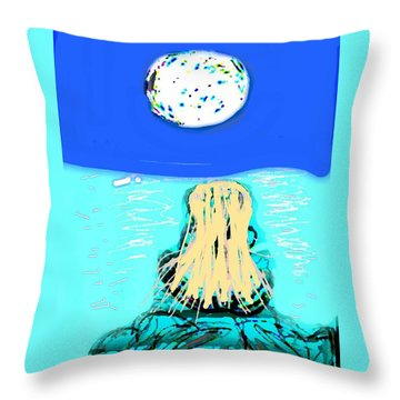 Yoga By The Sea Under The Moon Throw Pillow