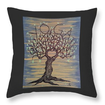 Throw Pillow featuring the drawing Yoga Love Tree by Aaron Bombalicki
