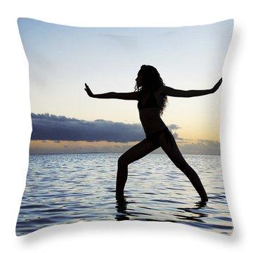 Yoga On The Coastline Throw Pillow by Brandon Tabiolo - Printscapes