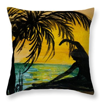Yoga Seated Side Bend Throw Pillow by Donna Walsh