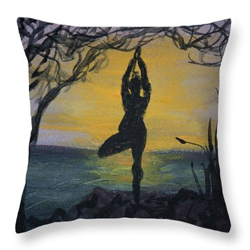 Yoga Tree Pose Throw Pillow by Donna Walsh